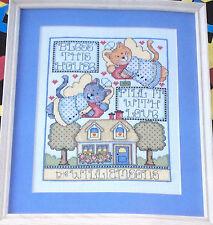 "Cat Angels ""Fill This House w/ Love"" Personalized Cross Stitch Kit NIP 8x10"""