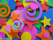 Funky Foam Shapes Self Adhesive Hearts Swirls Stars Squares Kids Craft 75pcs