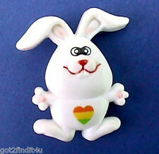 Russ Pin Easter Vintage Bunny Rabbit Rainbow Heart Holiday Brooch