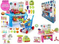 Children's Cash Register Till & Shopping Trolley Kids Role Play Toy Set