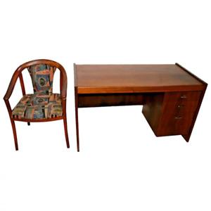 Mid Century Modern Desk Danish style three drawers Vintage Matching MCM chair