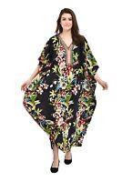 Women Black Beach CoverUp Floral Print Long Maxi Dress Polyester PlusSize Kaftan