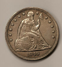 1849 SEATED DOLLAR  STRONG AU DETAILS - CLEANED - PRICED TO SELL AT VF