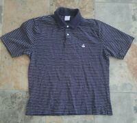 Brooks Brothers 346 Men's Short Sleeve Blue Striped Polo Shirt Size L Flying Pig