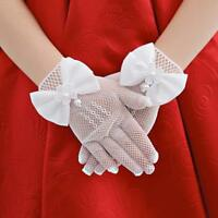 Women Wrist Wedding Driving Bow Lace Gloves Bridal Party Prom Fishnet Gloves YS