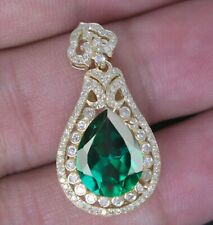 Real 14KT Yellow Gold 1.65Ct Natural Green Emerald EGL Certified Diamond Pendant
