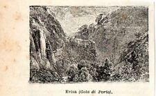 Stampa antica EVISA piccola veduta Gola di Porto Corsica Corse 1897 Old Print
