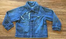 PAMPOLINO Boys 2T 3T Frayed Detailing Blue Denim JACKET / Snap-Button Closure