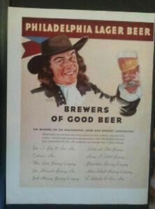 "1936 Philadelphia Lager Beer Gretz Schmidt Print Ad & Ethyl Gasoline 14"" by 10"""