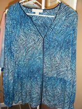 WOMENS MICHAEL KORS SHADES OF BLUE ZEBRA PRINT LONG SLEEVE DRAWSTRING WAIST SZ10