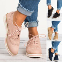 WOMEN'S FLAT OXFORDS SHOES LADIES LACE UP VINTAGE SMART OFFICE BROGUE TRAINERS