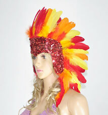 Showgirl fire theme feather sequins las vegas dancer headpiece headdress