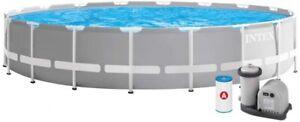 INTEX 26732 großer Rahmenpool Ø 549 x 122 cm Aufbau Aufstell Pool prsim frame