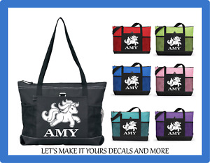 UNICORN JUMPING PERSONALIZED NAME ZIP TOTE PURSE TRAVEL OVERNIGHT GYM SPORT BAG