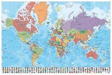 Maxi Poster Mapa Mundo Es Fisico Politico