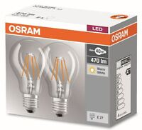 2er Pack Osram LED BASE Classic A60 E27 4W Filament LED-Lampe = 40W Glühbirne