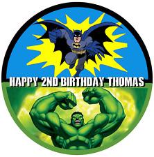 "Batman Hulk Personalizado Comestible Glaseado Hoja Cake Topper Cumpleaños Redondo 7.5"""