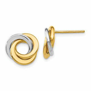 14k Two-tone Polished Intertwined Circles Post Earrings TL945