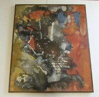 MASSIVE ABSTRACT PAINTING 1960'S COLORFUL NON OBJECTIVE LARGE EXPRESSIONISM VNTG
