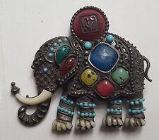 Vtg Unsigned HATTIE CARNEGIE Egyptian Revival Elephant Pendant & Brooch