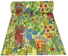 Indian Ikat Bedspread Quilts Blanket Throw Bedding Kantha Bed Cover Vintage