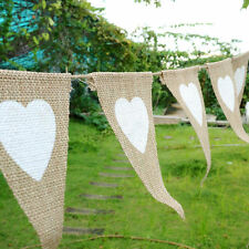 White Heart Triangle Flag Banner Bunting Garland Patio Wedding Party Decoration