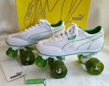 Vtg y2k Puma White Green Roller Kitty Skates 7 Rollerskates Derby Sneakers Shoes
