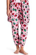 NWT Women's HELLO KITTY Holiday PLUSH Jogger Pants LARGE Pink w/Christmas Design
