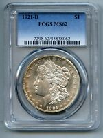 1921 D Morgan Silver Dollar PCGS MS 62