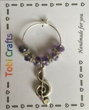 Treble Clef - Handmade Wine Glass Charms Birthday, Party, Christmas, New Year