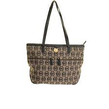 MICHAEL KORS Black/Beige Kempton Medium Logo Pocket Tote Handbag TEDO