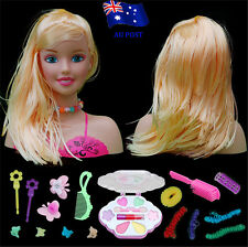 Girls Toy Doll Styling Head With Accessories Comb Brush Hair Clips Make Up BO
