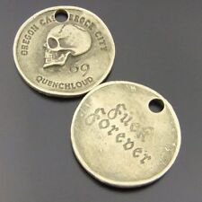 12X Vintage Style Bronze Tone Skull Coin Pendant Charms 28*28*2.6mm