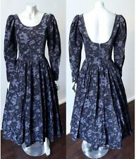 Laura Ashley Elizabethan Steampunk Vintage Velvet Medieval Black Gothic Dress S