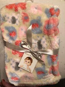 "Blankets & Beyond Tan Pink Blue Elephants Print Baby Blanket 28x30"" Fleece NWT"