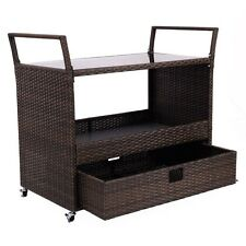 1Pcs Rolling Portable Rattan Wicker Kitchen Trolley Storage Cart with 1 Drawer