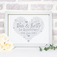 Personalised Word Art Wedding Anniversary Print Frame Gift For Him Her Couples