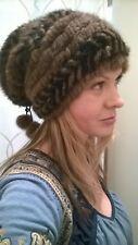 Women Girl Brown/Black Stripes Real Luxury Fur Mink Knit FancyWinter Hat Beanie