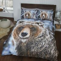 Duvet Cover Set - Double Size Cotton Polyester Bedset Big Brown Bear Bedding Set