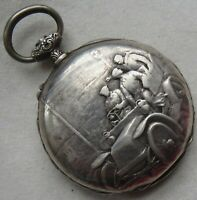Longines Pocket Watch open face silver carved case 41,5 mm. in diameter