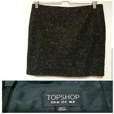 Topshop Womens Mini Skirt Size 12 Black Sparkly Metallic Textured Lined Party