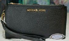 Michael Kors Jet Set Travel Black Leather Double Zip Wristlet 35f7gtvw9l