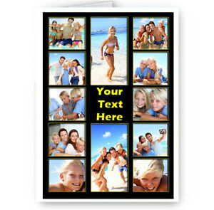 Personalised 12 Photos & Text Collage All Occasion A5 Card, Birthday & More.