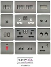 PROMOTION PRICES Screwless Flat Plate Black Nickel Plug Sockets & Light Switches