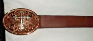 """Women's Brown Faux Leather & Elastic Belt Metal Catch W/Cross Size 50"""" - NWOT"""