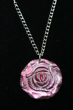 "Shell Rose Red 2"" Pendant Necklace Silver Rhodium Chain Flower 18"" Rose Bud"