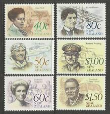 NEW ZEALAND 1990 FAMOUS PEOPLE Aircraft 6v MNH