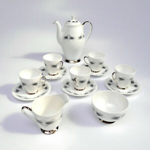 COFFEE SET by WINDSOR FUTURA BONE CHINA ART DECO CUPS SAUCERS POT RETRO VINTAGE
