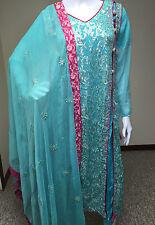 Indian Pakistani Designer Salwar Kameez Party Blue Bridal Gown Embroidery, S