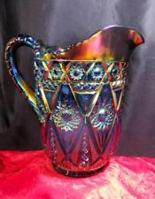 SIZZLNG IMPERIAL DIAMOND LACE ~ ELECTRIC BLUE PURPLE RED CARNIVAL GLASS PITCHER!